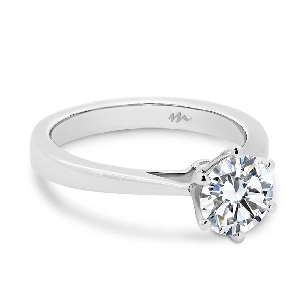 Taylor round brilliant Moissanite engagement ring on flat tapered band
