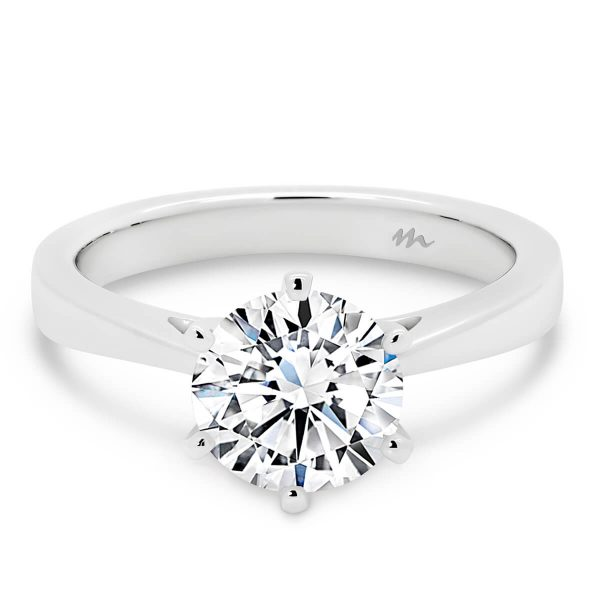 Taylor round engagement ring with delicate band