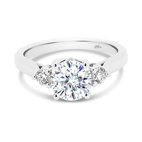 Tia round 3 stone engagement ring with heart gallery