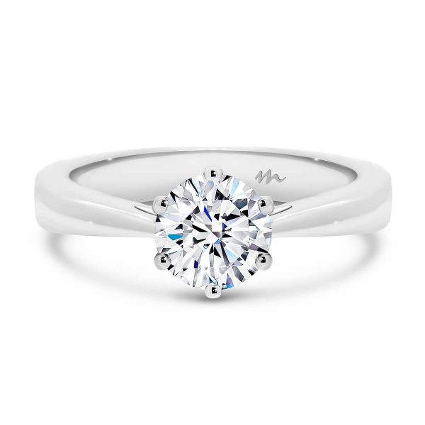 Tilly Round solitaire Moissanite engagement ring on flat tapered band with 9K Gold.