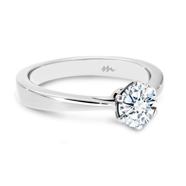 Tilly 1.00 carat Round solitaire Moissanite engagement ring on tapered band with flat profile.