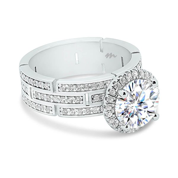 Canturi inspired band in an engagement ring setting