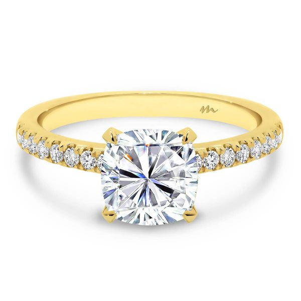 Victoria Cushion single stone Moissanite engagement ring celebrity inspired engagement ring