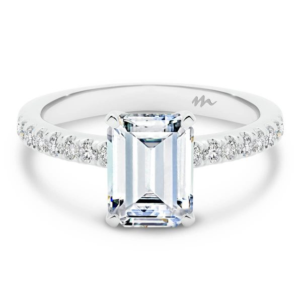 Victoria Emerald Moissanite engagement ring with Emerald cut solitaire on stone set band