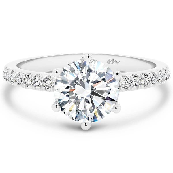 Victoria Round solitaire Moissanite engagement ring with 6-prong setting on fine pave band