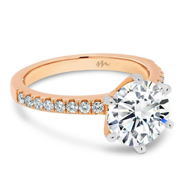 Victoria Round Moissanite engagement ring
