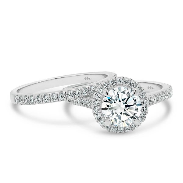 Ava A Prong set 3/4 band wedding ring