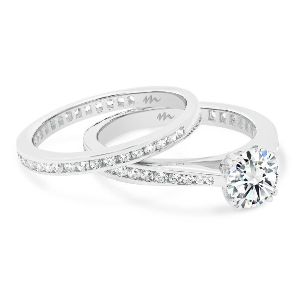 Brynn A channel set Moissanite wedding ring