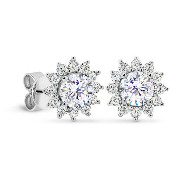 Camille 6.0 Flower shaped diamond cluster earrings
