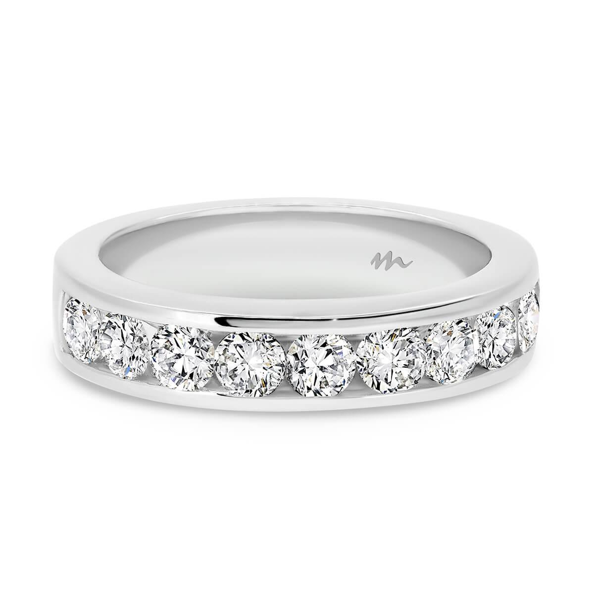 Carmen 3.0 channel set Moissanite half band wedding ring