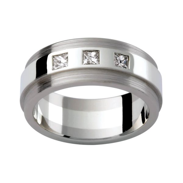 D113 men's wedding ring with 3x princess cut diamonds 0.30 total carat in polish and brushed finish