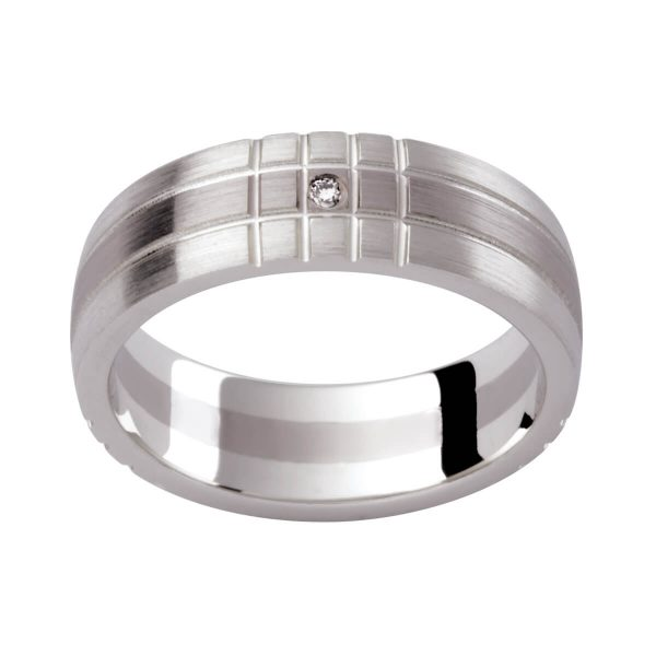 D118 men's band with a diamond accent with cris-cross pattern in two-tone white gold brushed finish