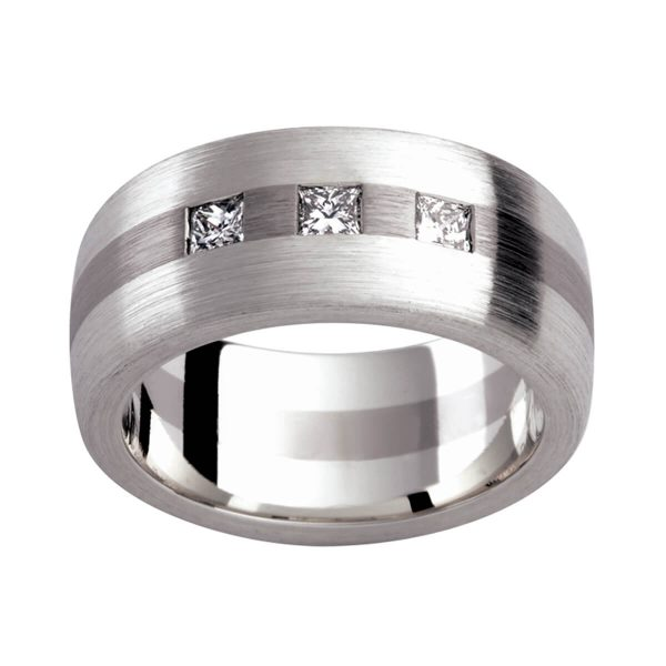 D120 men's diamond band with 3 princess cut diamonds in brushed white gold