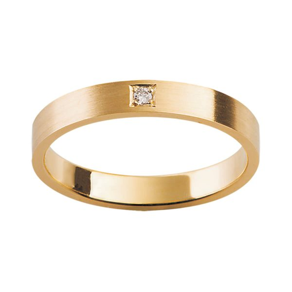 D28 men's ring plain flat band with one diamond in centre