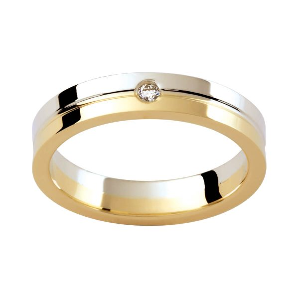 D34 men's wedding band with two tone gold with a single round diamond