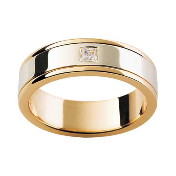 D40 classic men's band with a princess cut diamond in two tone