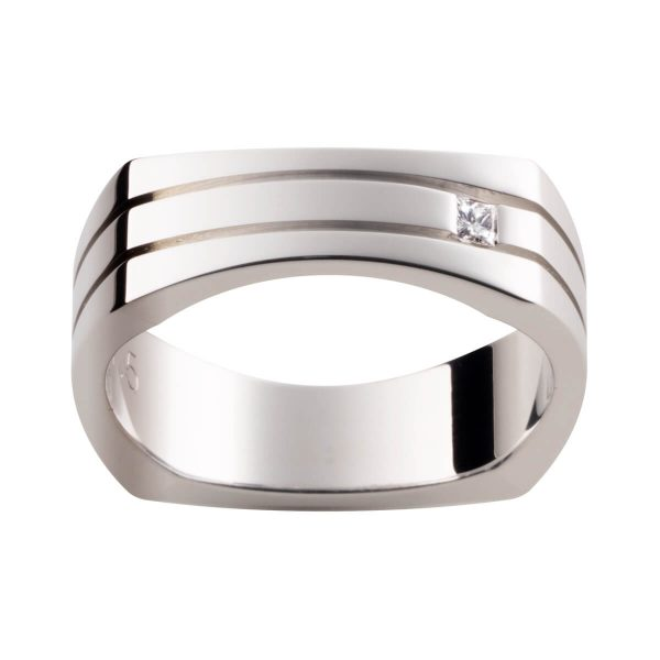 D57 stylish men's square wedding ring with a princess cut diamond with deep cut-out grooves