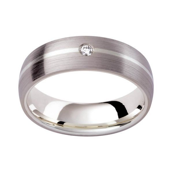 DC104 classic men's wedding band with diamond accent in brushed finish