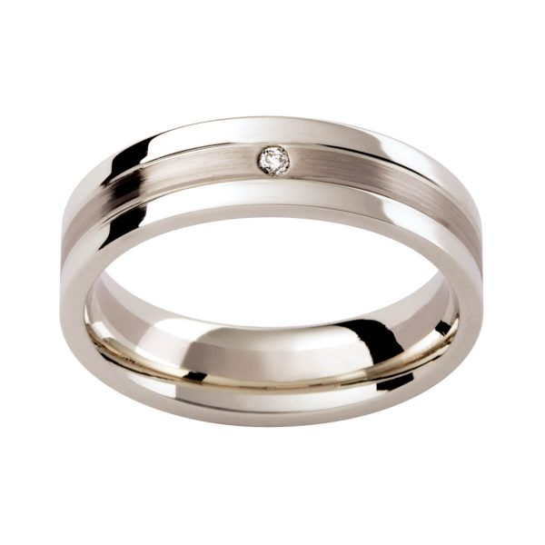 DC114 men's wedding band with a diamond accent in polished & brushed finish with grooves