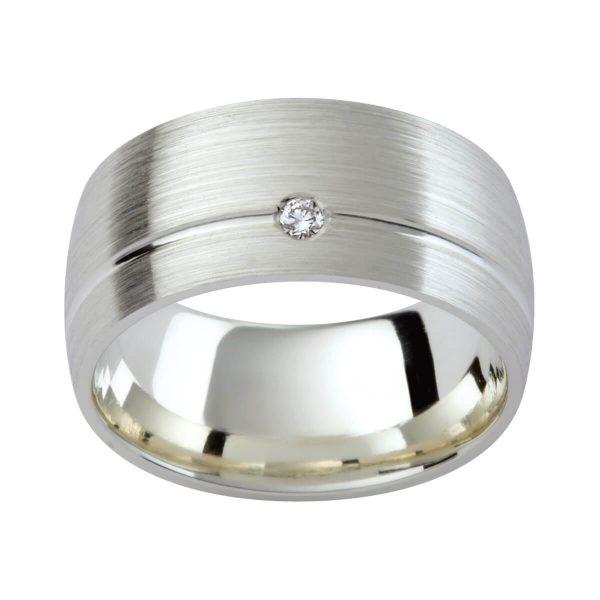 DC25 stylish men's ring in a brushed finish with a diamond accent and polished groove