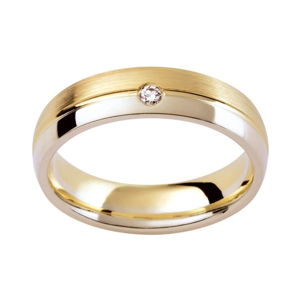 DC48 men's rounded band with a diamond accent in two tone gold