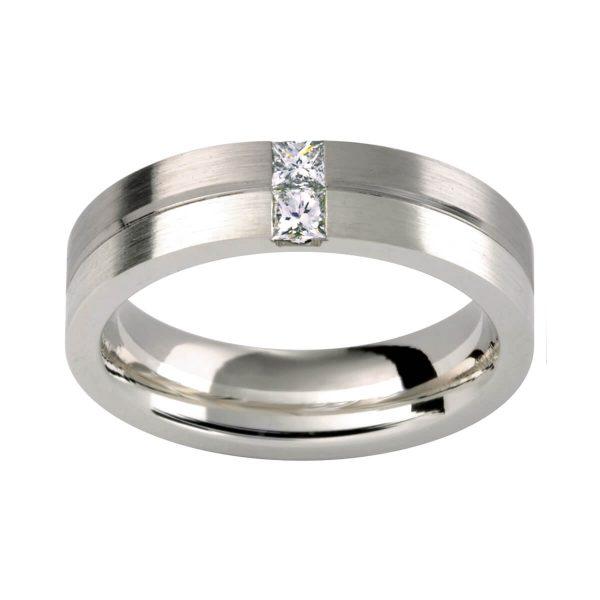 DC95 men's ring colour combo 9&18k white gold with princess cut diamonds