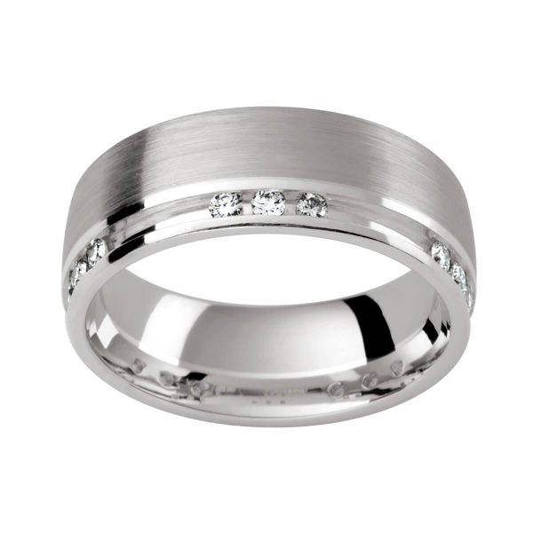 DJ103 men's diamond wedding band with white or black diamonds and patterned finish