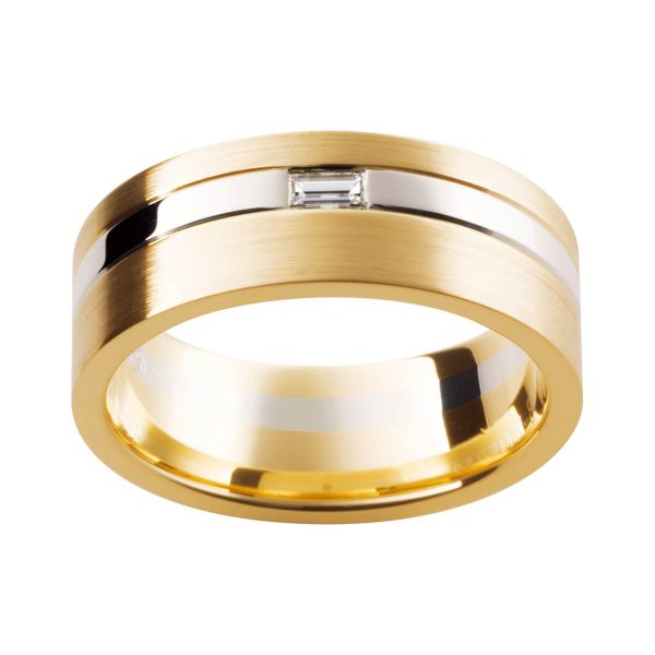 DJ61 beautiful men's ring in two-tone brush finish with a baguette diamond