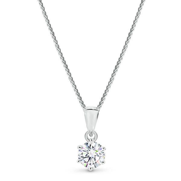 Small diamond pendant with a classic design.