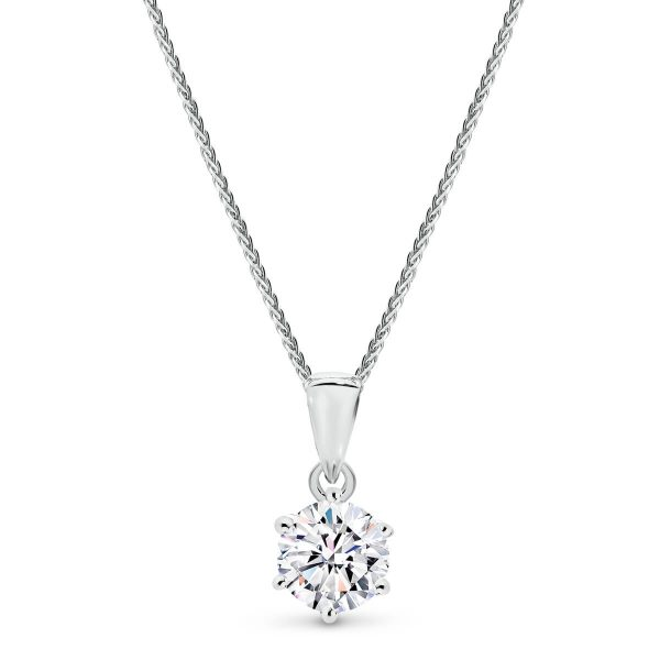 Half carat Moissanite or diamond pendant in yellow gold from Moi Moi.