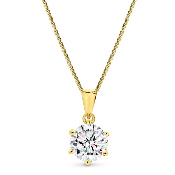 One carat Moissanite solitaire pendant with 6 claws to shop in Australia.