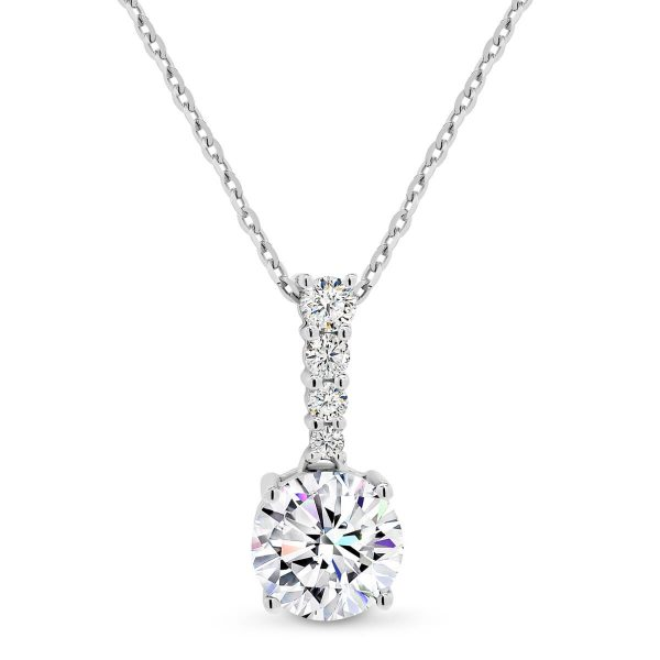 Enya design is a Diamond encrusted bail with large Moissanite stone.