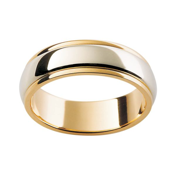 F101 classic men's two tone wedding band with polish edges