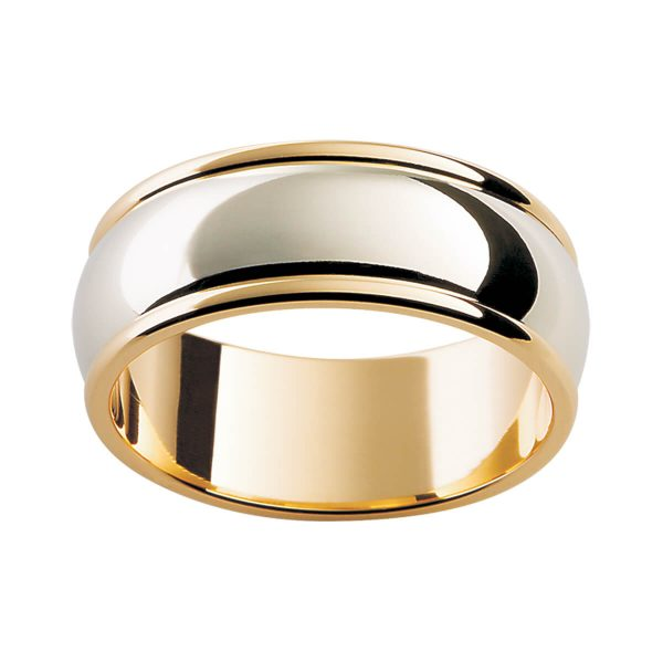 F16 men's two tone wedding band with polish edges in polish finish