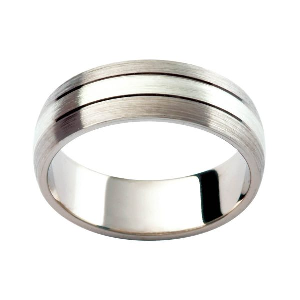 F168 brushed finished men's ring with 3 equal sections divided by polished grooves