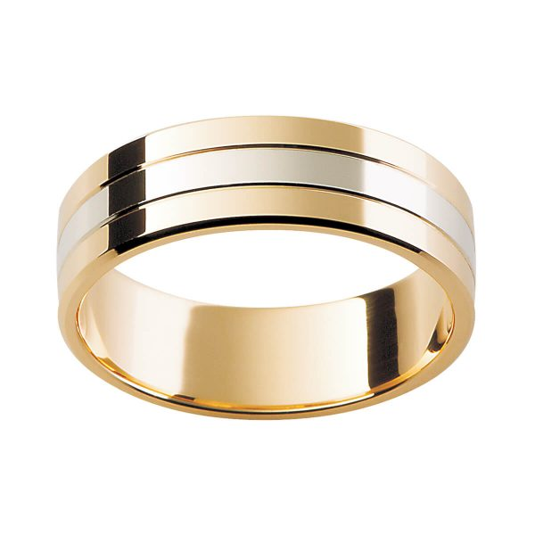 F19 two tone men's ring design with three sections available in two one or single colour