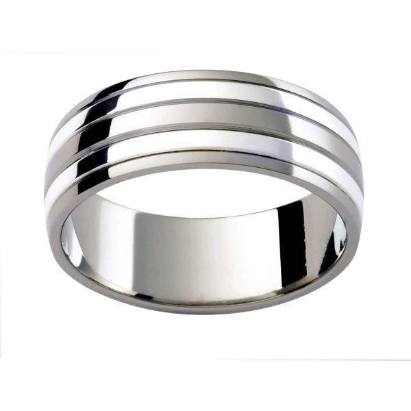 F199 men's white gold band with alternating finishes with grooved lines