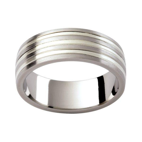 F201 men's wedding ring with 9k and 18k contrasting white gold brushed finish