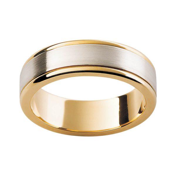 F96 men's ring two tone matt finish wih polish edges
