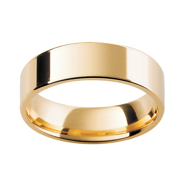 FLE men's ring with flat band and rounded edges