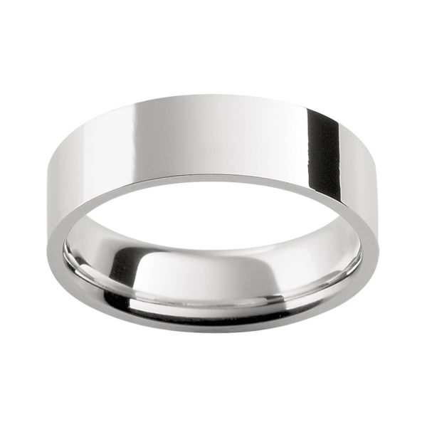 FLAT men's ring plain flat band with contour fit