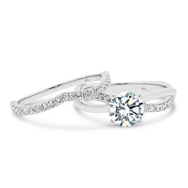 Freya A jigsaw cut V shape Moissanite wedding ring