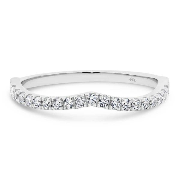 Freya A jigsaw cut V shape Moissanite wedding ring