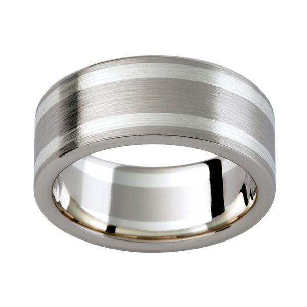 G103D Flat men's band in brushed finish with a contasting 9K and 18K white gold colour tone.