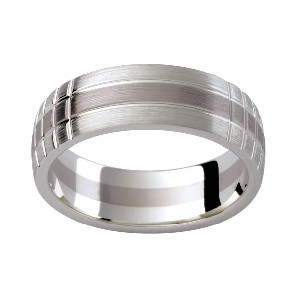 G137M men's patterned wedding ring with contrasting white gold finish