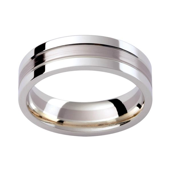 GC133 stylish men's band in white gold contrast finish. Polish and emery.