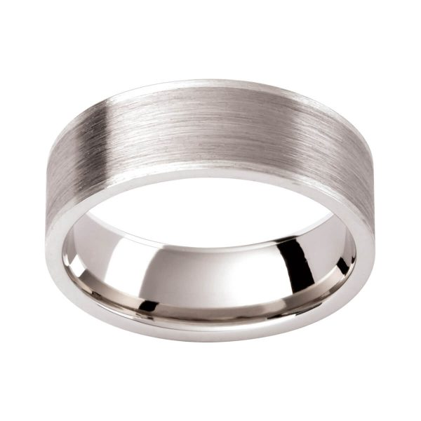 GC134 flat men's wedding ring in emery finish with lighter contrast edges