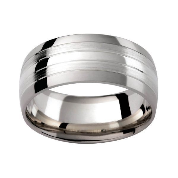 GJ102 men's wedding ring in 9k and 18k white gold with contrasting finish