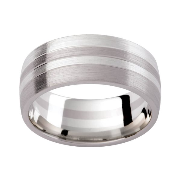 GJ126 men's band in white gold with contrasting brushed finish