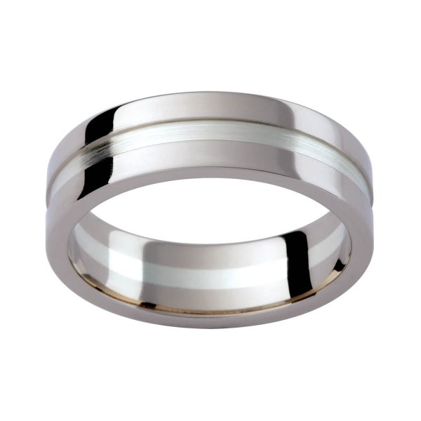 GJ128 men's band with lowered centre section in brushed and polished finish.